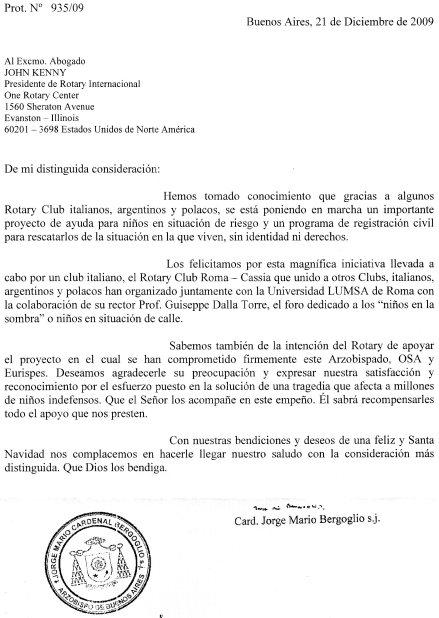 Lettera Bergoglio-Kenny